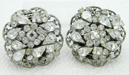 Vintage Original By Robert Clear Rhinestone Silver Tone Clip Earrings - $49.49