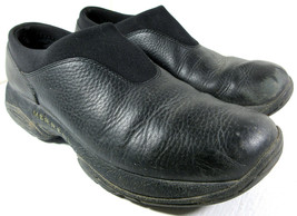 MERRELL PRIMO Moc Air Cushion Black Leather Slip-On Stretch Clog Shoes S... - $29.65
