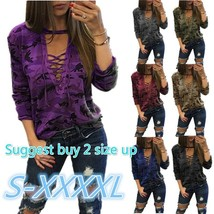 2017 Women's Fashion Straps Low-Cut Print Pullover Long/Short Sleeve Camouflage