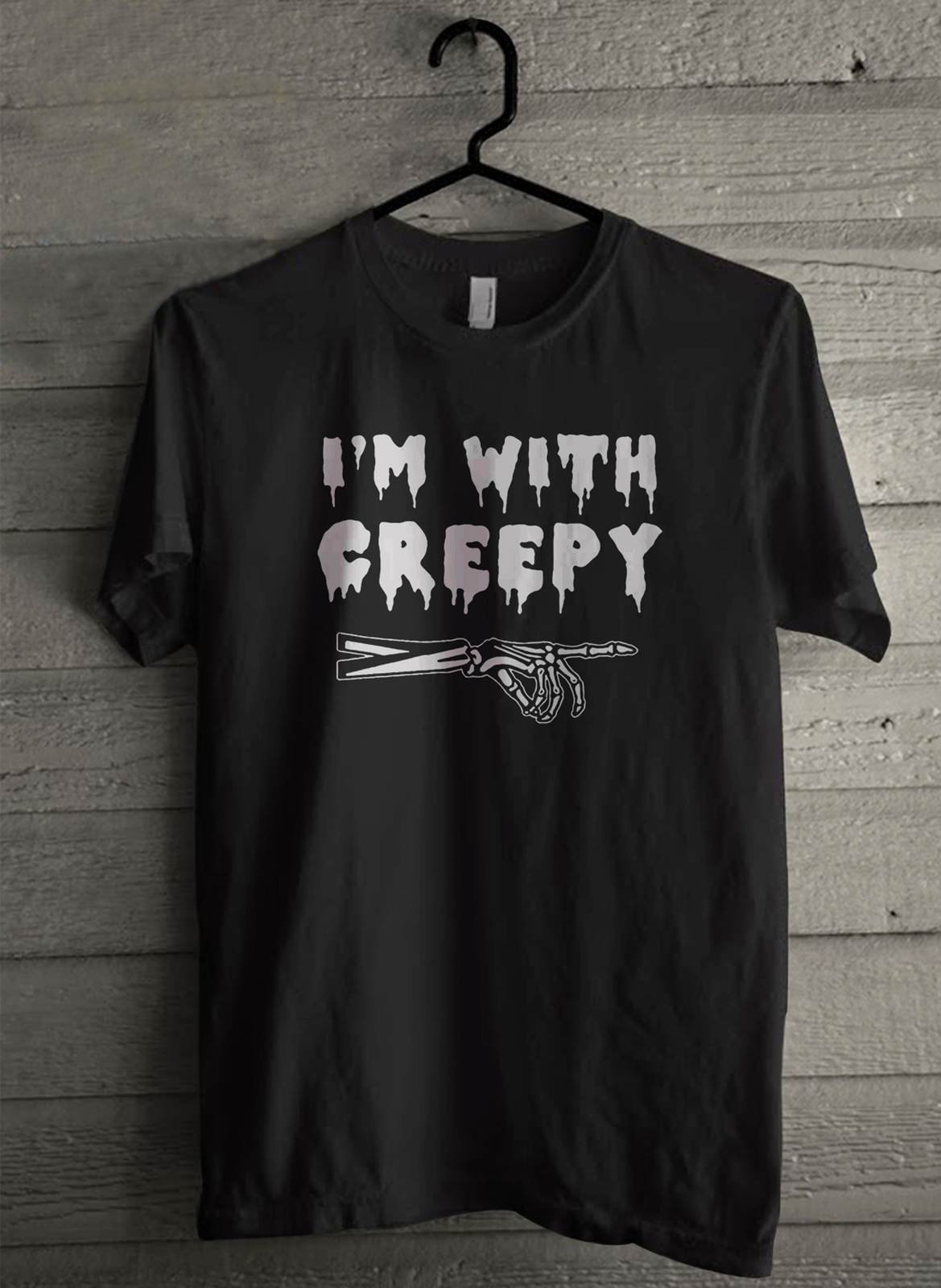 Primary image for I'm With Creepy  Halloween - Custom Men's T-Shirt (4732)