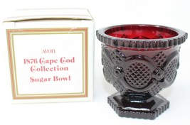 Avon 1876 Cape Cod Collection Sugar Bowl Ruby Red Glass New Vintage 1990 - $9.49
