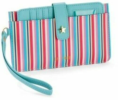Primary image for No Boundaries Ladies Credit Card Wristlet Wallet Multi Color Stripe Be Free NEW