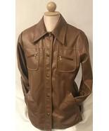 Vtg Women's Ladies Jacket Fingerhut Fashions By Kingtex Brown Faux Leather Sz 12 - $39.37