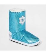 Girls' Disney Frozen 2 Sequin Booties Slippers - Blue M(2-3) - $15.00