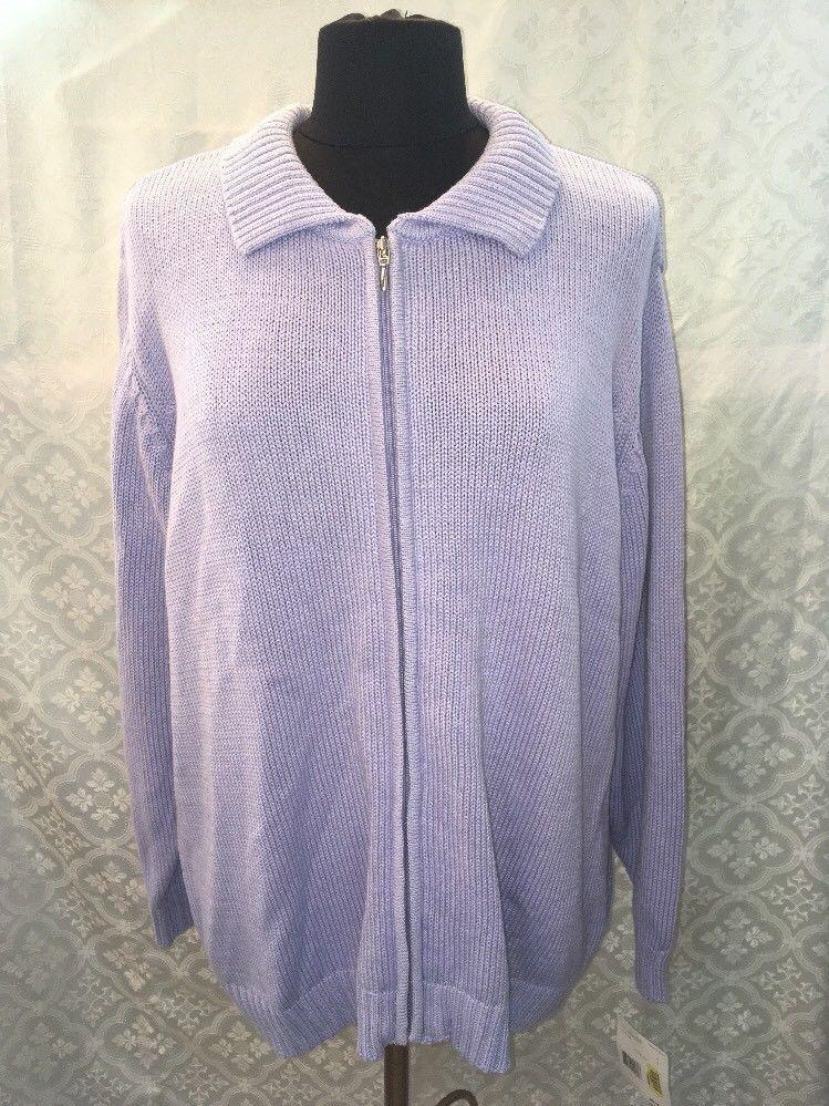 Elizabeth Liz Claiborne Womens 1 Plus Purple Violet Cardigan Sweater Zip Front - $37.55