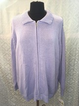 Elizabeth Liz Claiborne Womens 1 Plus Purple Violet Cardigan Sweater Zip... - $37.55