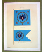FLAGS Italy Royal & Crown Princess Standard - 1899 Color Litho Print - $16.20