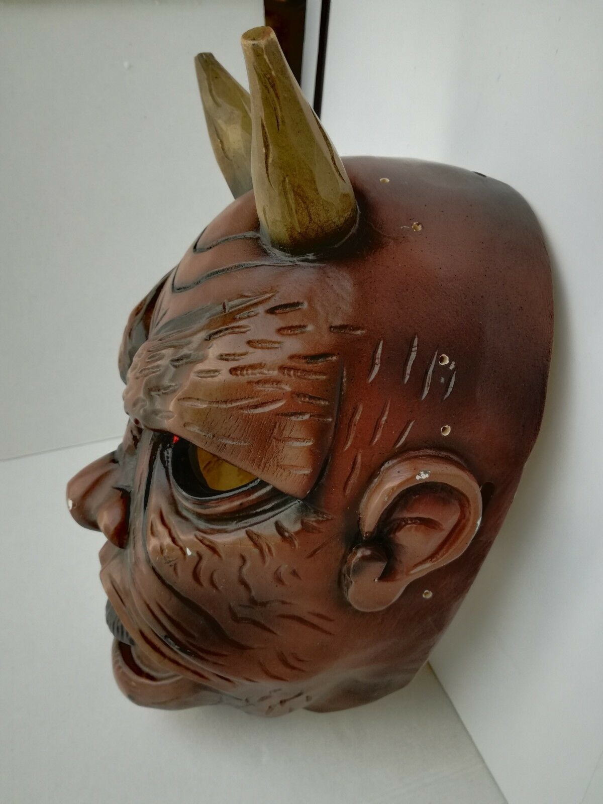Antique Nikolaus Krampus wood handcarved BLACK FOREST Devil Mask Gothic oddities image 8