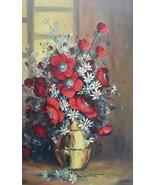 """Rare 1974 Iolanda Rizzo Prag """"Flower in Vase"""" Large Still Life Art Painting - $558.99"""