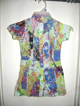 Cakewalk Girls Boutique Shirt Dress Floral Ruffles Patchwork Eur 128 US 8 - $24.49