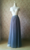 Gray Tulle Skirts for Bridesmaids Plus Size Full Long Wedding Tulle Skirt Outfit image 2