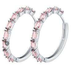 10k White Gold Plated Pink Hoop Earrings [EAR-64] - $14.01