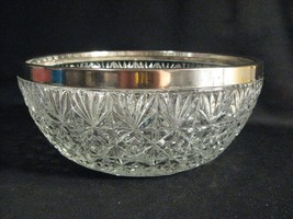 VERY LARGE CLEAR GLASS BOWL WITH SILVERPLATE RIM - ENGLAND - $28.98