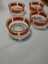 4 Vintage Jeannette Glass Orange & Gold Aztec Sun Chip & Dip Serving Bowls MCM - $45.00