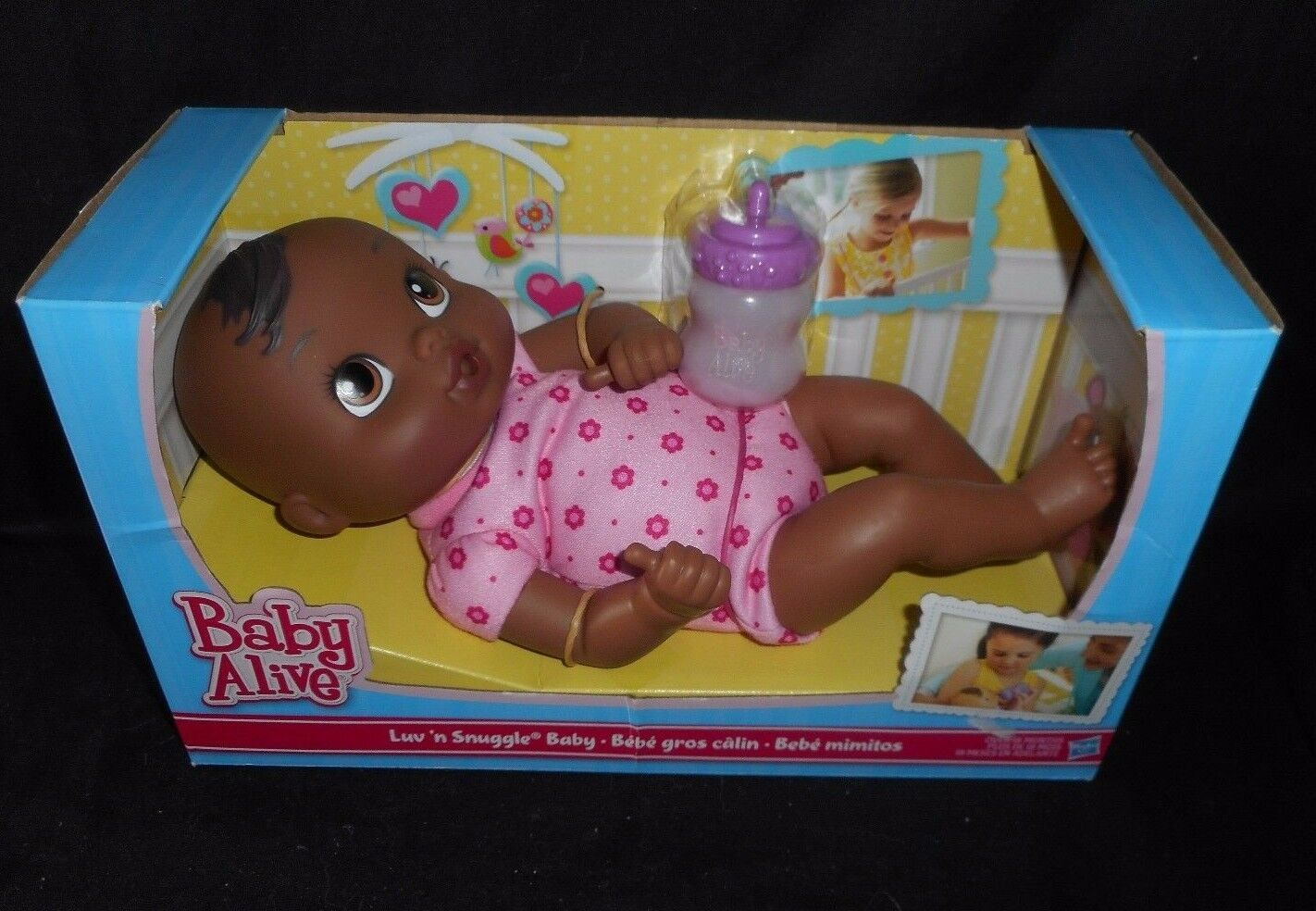BABY ALIVE LUV N SNUGGLE HASBRO 2015 AFRICAN AMERICAN DOLL W/ BOTTLE IN BOX
