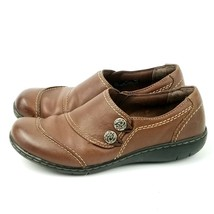 Clarks Bendables Women's Brown Leather Loafer 67697 Shoes side buttons S... - $23.09