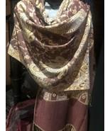 Vintage Style Knit Brocade Brown Pashmina Paisley Scarf Wrap Shawl - $39.80