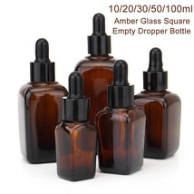 5pcs Square Empty Amber Glass Dropper Bottles For Aromatherapy Essential... - $10.99+