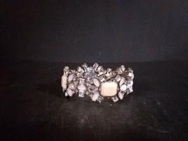 "Blue White Rhinestone 1"" Wide Cuff Stretch Bracelet Women Fashion Jewelry  - $19.79"