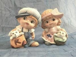 "Vintage Homco Ceramic Figurines 1438,1439 Boy Puppy Girl Kitten 5"" Tall Adorable - $12.86"
