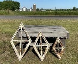 Set 3 Diamond Wood Window Frames, Wood Decorative Panels, Architectural ... - $124.00