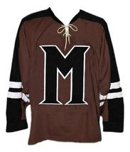 Connor Banks Mystery Alaska Movie Hockey Jersey New Brown Any Size image 3