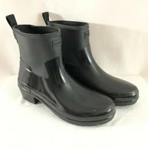 Hunter Womens Rain Boots Refined Low Heel Biker Gloss Duo Black Rubber Size 10 - $96.74