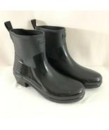 Hunter Womens Rain Boots Refined Low Heel Biker Gloss Duo Black Rubber S... - $96.74