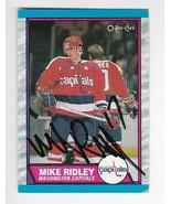 MIKE RIDLEY AUTOGRAPHED CARD 1989-90 O-PEE-CHEE WASHINGTON CAPITALS - $4.98