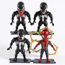 Marvel Spider Man Venom & Spiderman Iron Spider PVC Figure Collectible M... - $18.40