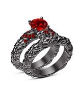 Red Garnet Womens Wedding Bridal Ring Set 14k Black Gold Finish 925 Soli... - $105.99