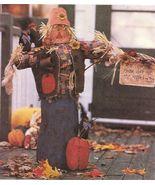 "Halloween 33-1/2"" Scarecrow Greeter Applique Sign Crow Pumpkin Sew Pattern - £9.44 GBP"