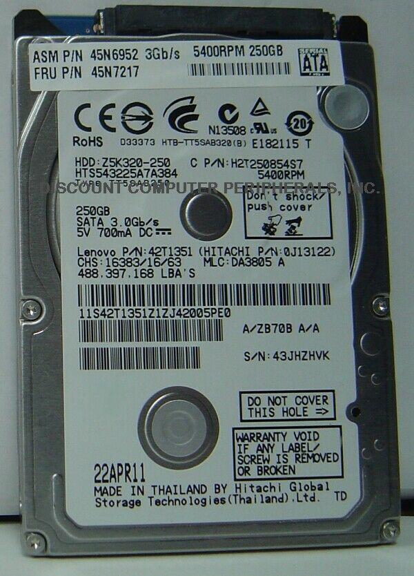 "NEW 250GB Hitachi HTS543225A7A384 SATA II 2.5"" 7MM hard drive Free USA Ship"