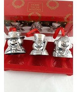 Home for the Holidays Vintage Pewter Bell Christmas Ornaments Whimsical ... - $21.77