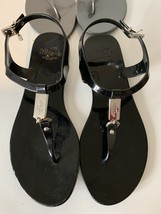 COACH Plato Black Jelly Ankle Strap Sandals Thong Womens Size 8 B - $39.00