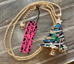 """NWT BETSY JOHNSON Green Enamel/Multi Rhinestone Christmas Tree Pendant 24"""" Chain - $26.98"""