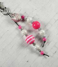 Owl Stripe Bubblegum Handmade Beaded Keychain Purse Charm Pink White Silver - $15.51