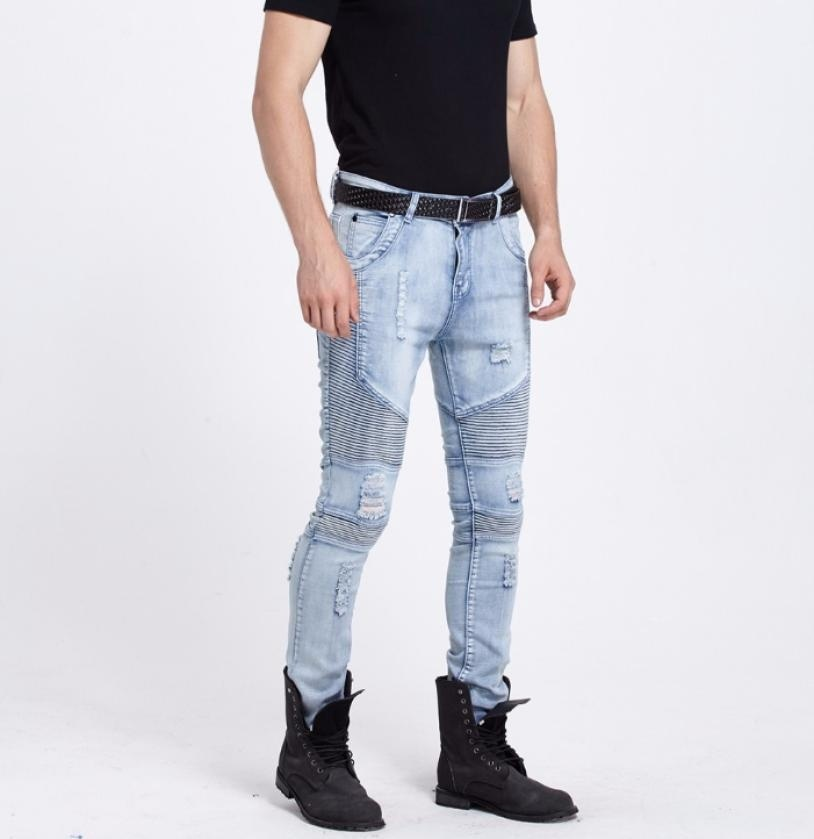 New Men hip hop Men Jeans masculina Casual Denim distressed Men's Slim Jeans pan