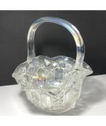 VINTAGE CRYSTAL GLASS BASKET OPALESCENT flower S mark art deco bowl dish... - $148.50