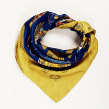 """Hermes """"Les Tambours"""" Blue Gold Silk Scarf - $230.00"""