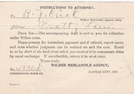 U.S. Instructions to Attorney Wilber Mercantile Agency Kans Invoice-Tear... - $7.55