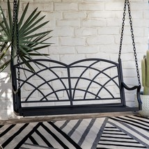 Double Arched Back Black Finish Metal 4 Foot Porch Swing Outdoor Furniture  - $197.50