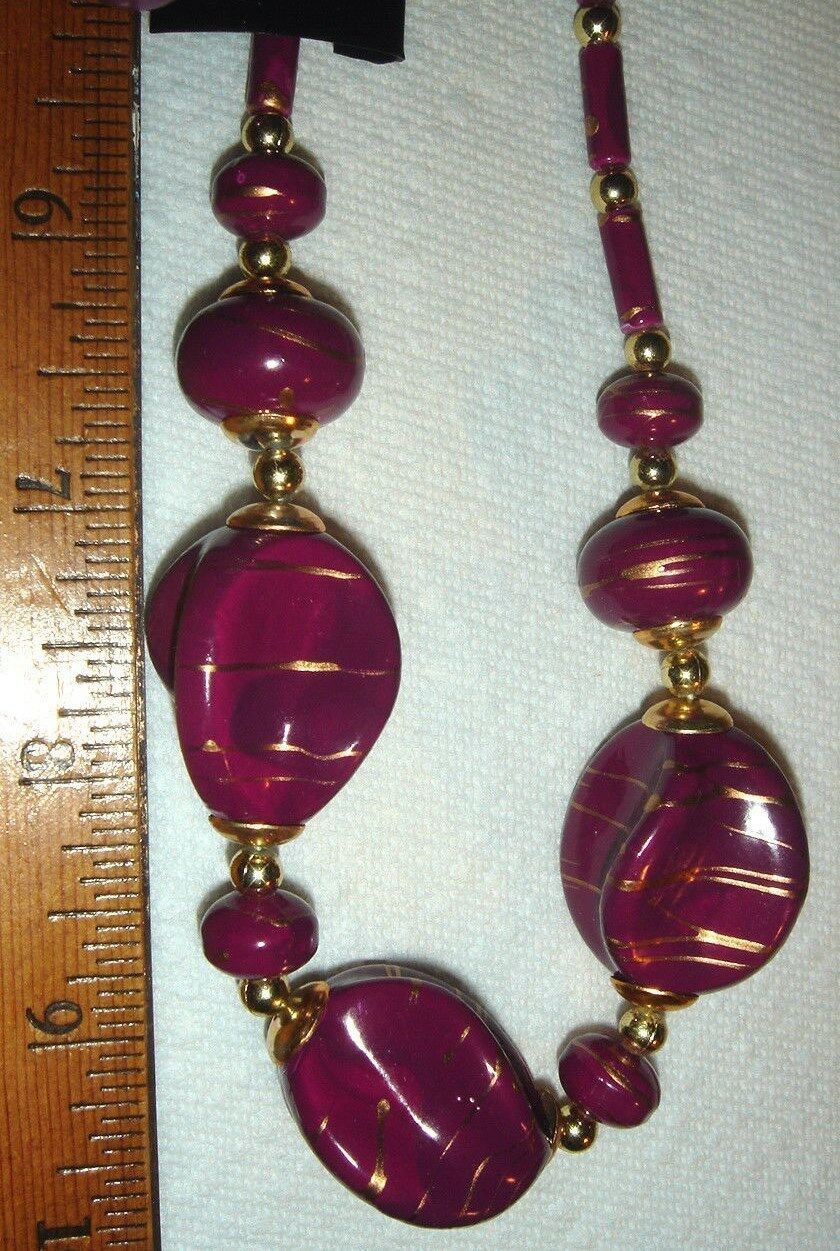 VTG MCM SEXY SECRETARY ATOMIC ART PURPLE CHUNKY LUCITE NECKLACE CLIP EARRING LOT
