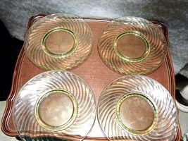 Four Vintage Vaseline Green Depression Glass Twisted Optic Sandwich Plat... - $39.66