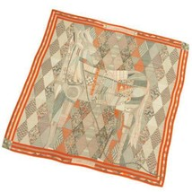 HERMES Carre 140 Patchwork Horse Cashmere Silk Orange Gray Green Scarf F... - $769.45