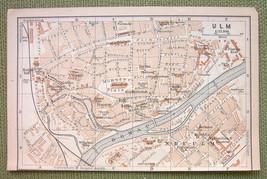 GERMANY Ulm City Town Plan - 1900 MAP ORIGINAL Baedeker - $3.72