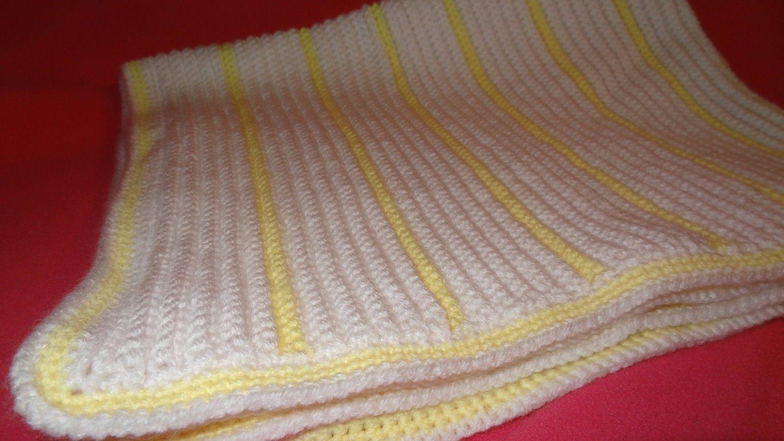 Handmade Crochet Baby Girl Boy Blanket Afghan White Yellow Unisex Newborn Stripe image 2