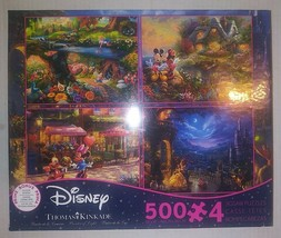 500 Pc. Jigsaw Puzzle 4-in-1 Thomas Kinkade Disney Collection Complete D1 - $14.84