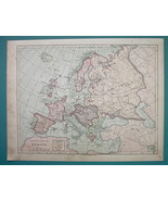 1875 MAP COLOR - EUROPE Political + Western Russia - $6.71