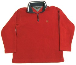 Tommy Hilfiger Red Polo Sweater Pullover Mens S 1/4 Zip Fleece Embroidered Crest - $19.75